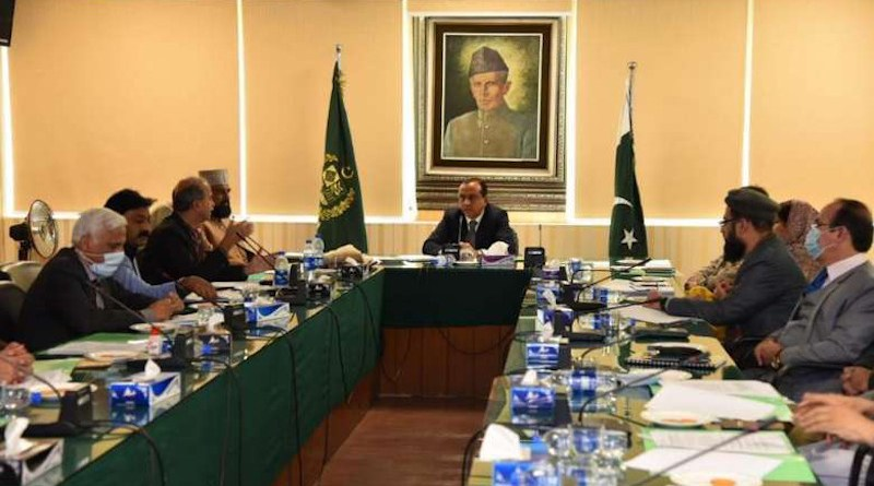 Chairman Chela Ram Kewlani presides at the eighth monthly meeting of the National Commission for Minorities in Islamabad in February. (Photo supplied)