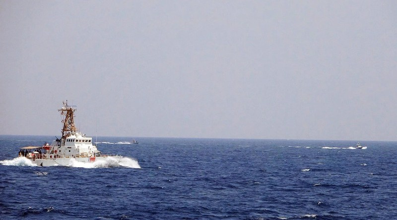 Two Iranian Islamic Revolutionary Guard Corps Navy fast in-shore attack craft, a type of speedboat armed with machine guns, conducted unsafe and unprofessional maneuvers while operating in close proximity to USCGC Maui as it transits the Strait of Hormuz with other U.S. naval vessels, May 10, 2021. Photo Credit: US Navy