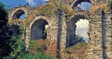 The two-story Kurşunlugerme Bridge, part of the aqueduct system of Constantinople: Two water channels passed over this bridge - one above the other. CREDIT: photo/©: Jim Crow
