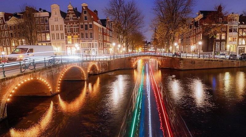 Dutch Netherlands Amsterdam Channels Canals Night Photograph