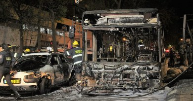 Wreckage of a bus and car in Holon, Israel after a rocket attack. Photo Credit: Yoav Keren, Wikipedia Commons