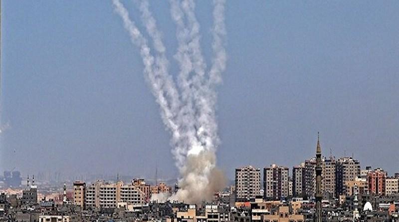 Hamas rockets landing in Jerusalem. Photo Credit: Mehr News Agency