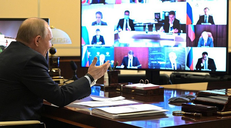Russia's President Vladimir Putin holds virtual meeting with French businesses. Photo Credit: Kremlin.ru