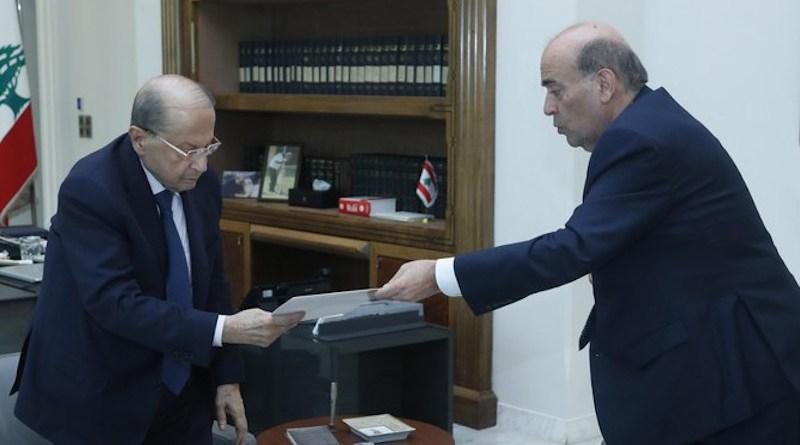 Lebanon's President Michel Aoun receives Charbel Wehbe's resignation on Wednesday. (@LBpresidency)