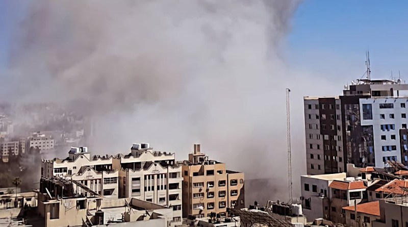 The Israeli Air Force bombed the press offices in Gaza, 15 May, 2021. Photo Credit: Osps7, Wikipedia Commons