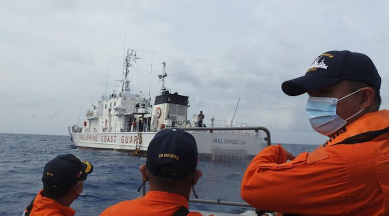 Members of the Philippine Coast Guard participate in exercises near Pag-asa Island in the South China Sea, in this undated photo. Photo Credit: Philippine Coast Guard handout
