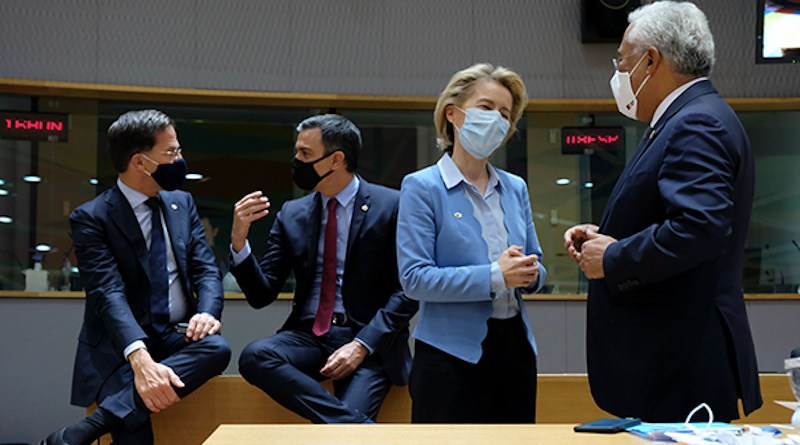 From left to rigth: Mark Rutte (Dutch Prime Minister), Pedro Sánchez (Spanish Prime Minister), Ursula von der Leyen (President of the European Commission) and António Costa (Portuguese Prime Minister). Photo: ©European Union 2020