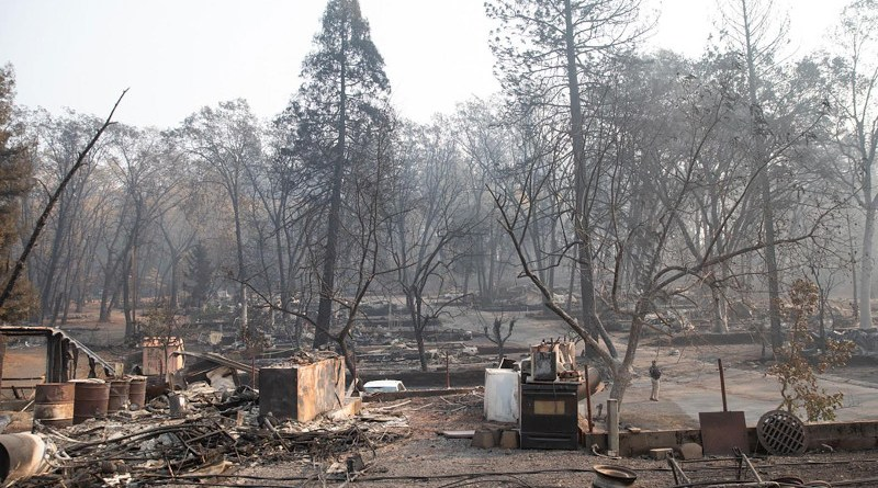 In 2018, the Camp Fire ripped through the town of Paradise, California at an unprecedented rate. Much of the town was destroyed in the tragedy. CREDIT The White House via Wikicommons