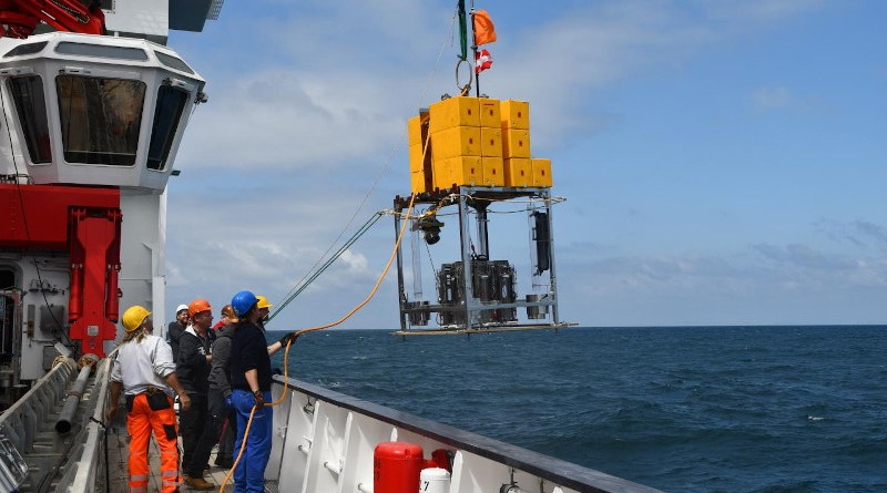 On board the German research vessel Sonne off the coast of Chile, ready to take samples from 8 kilometers depth in the Atacama Trench system CREDIT Anni Glud, SDU