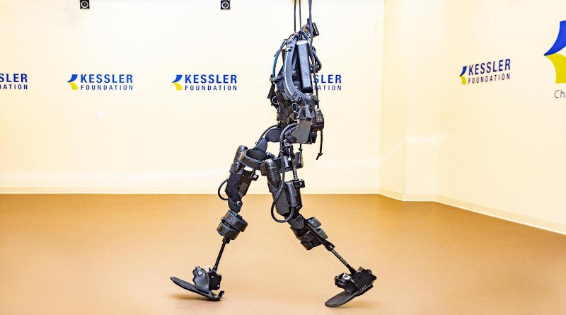 Two types of exoskeletons were used in this multi-site study, ReWalk and Ekso GT. This photo shows an Ekso GT in the Tim & Caroline Reynolds Center for Spinal Stimulation at Kessler Foundation CREDIT Kessler Foundation