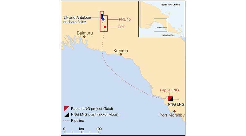 Location of Total operated Papua LNG Project. Credit: Total
