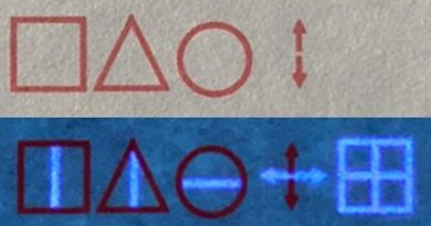 "With regular ink, a computer trained with the codebook decodes ""STOP"" (top); when a UV light is shown on the paper, the invisible ink is exposed, and the real message is revealed as ""BEGIN"" (bottom). CREDIT Adapted from ACS Applied Materials & Interfaces 2021, DOI: 10.1021/acsami.1c01179"
