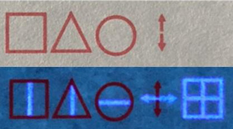 """With regular ink, a computer trained with the codebook decodes """"STOP"""" (top); when a UV light is shown on the paper, the invisible ink is exposed, and the real message is revealed as """"BEGIN"""" (bottom). CREDIT Adapted from ACS Applied Materials & Interfaces 2021, DOI: 10.1021/acsami.1c01179"""