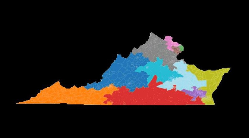Visualization of sampled county-preserving Virginia Congressional voting districts, created with the ReCom method in Gerrychain. CREDIT Daryl DeFord, Washington State University