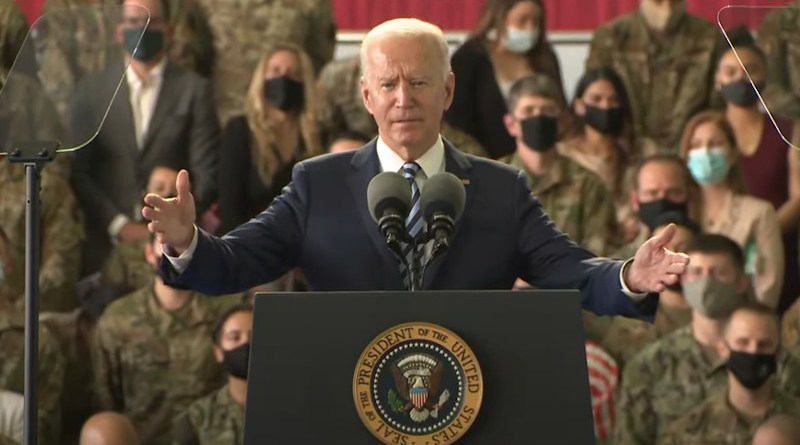 President Joe Biden delivers remarks to US Air Force Personnel and their families stationed at Royal Air Force Mildenhall. Photo Credit: White House video screenshot