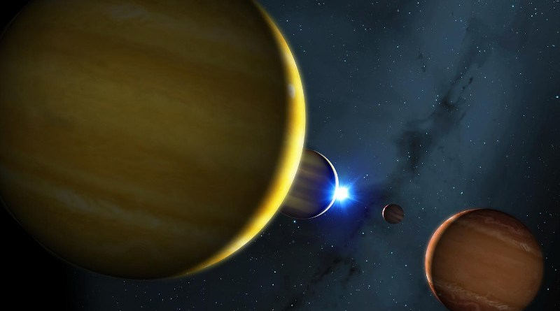 Artist's impression of the four planets of the HR 8799 system and its star. CREDIT University of Warwick/Mark Garlick
