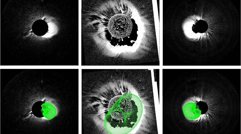 (Top panel, from left to right) July 12, 2012 coronal mass ejection seen in STEREO B Cor2, SOHO C2, and STEREO A Cor2 coronagraphs, respectively. (Bottom panel) The same images overlapped with the model results. CREDIT Talwinder Singh, Mehmet S. Yalim, Nikolai V. Pogorelov, and Nat Gopalswamy