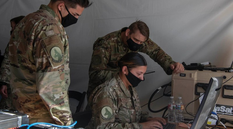 Air Force airmen monitor battlespace movements at a simulated austere base during the Advanced Battle Management System exercise at Nellis Air Force Base, Nev., Sept. 3, 2020. Photo Credit: Air Force Tech. Sgt. Cory D. Payne