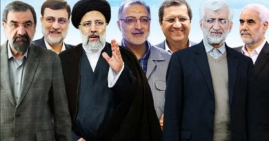 Montage of seven candidates for the Iranian presidency. Photo Credit: Tasnim News Agency