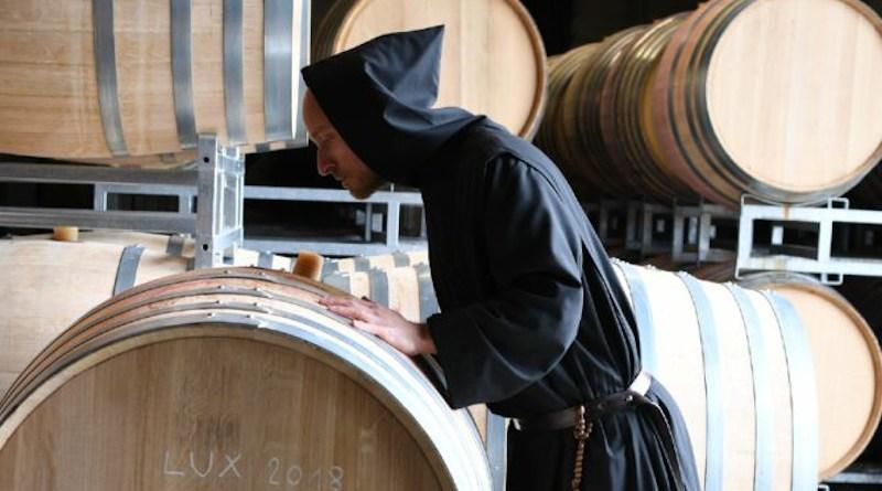 A Benedictine monk at the Barroux Abbey's Via Caritatis winery./ Courtesy of Barroux Abbey.