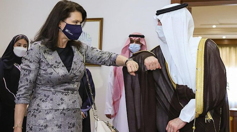 Swedish Foreign Minister Ann Linde meets Saudi Minister of State for Foreign Affairs Adel Al-Jubeir. (SPA)