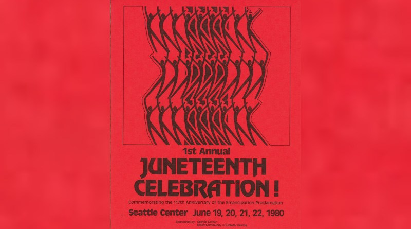 Flyer for a 1980 Juneteenth celebration at the Seattle Center. Credit: Seattle Municipal Archives, Wikipedia Commons
