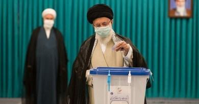 Leader of the Islamic Revolution Ayatollah Seyed Ali Khamenei casts a ballot in Iran's presidential election. Photo Credit: Tasnim News Agency