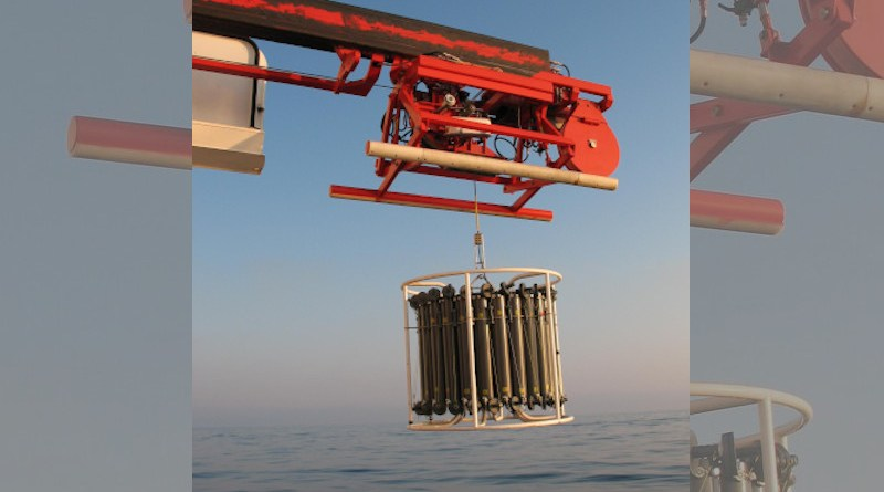 So-called rosette samplers are used to take water samples at different water depths. The Oldenburg team analyzed the distribution of dissolved organic matter in the Black Sea. CREDIT © Nelli Sergeeva
