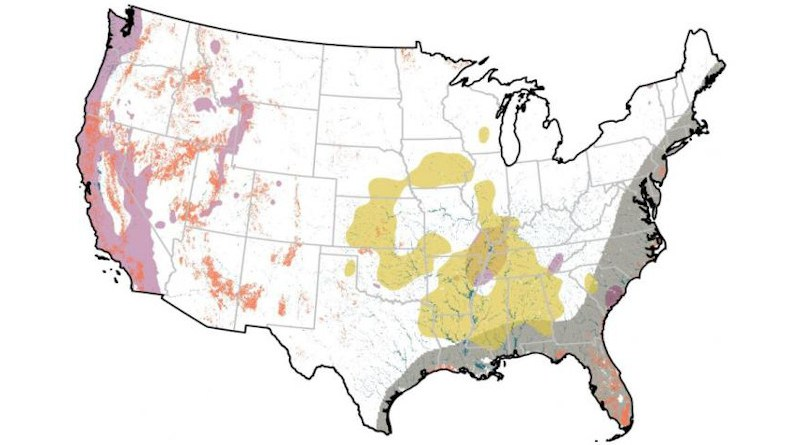 A new study finds more than half of the US built environment is at risk of impact from natural hazards, largely due to development in hotspots of high exposure to earthquake (magenta), flood (cyan), hurricane (grey) tornado (yellow) and wildfire (orange). The probability or magnitude of natural events is assumed to be constant over the entire study period (1945-2015). CREDIT Inglesias et al. (2021) Earth's Future https://doi.org/10.1029/2020EF001795