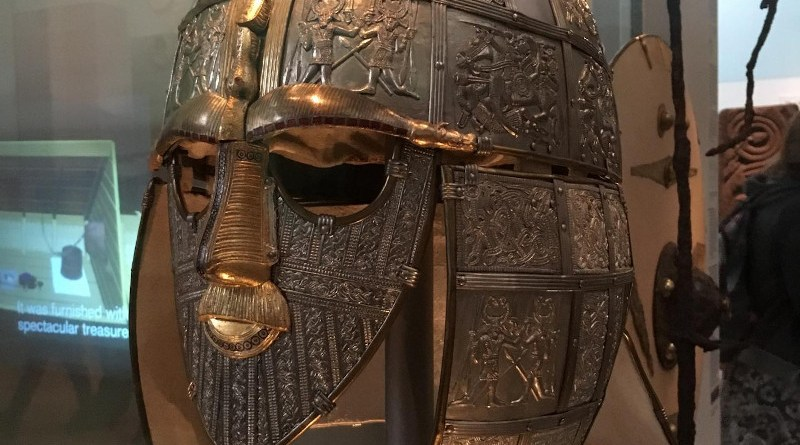 The famous Anglo-Saxon Sutton Hoo helmet from about 625 CE, part of the British Museum collection. Photo: Elissa Blake/University of Sydney CREDIT Photo: Elissa Blake/University of Sydney