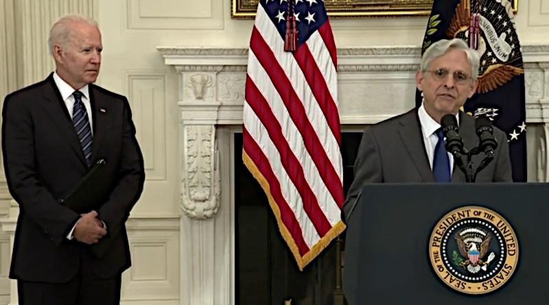 US President Joe Biden and Attorney General Merrick Garland. Photo Credit: Screenshot White House video