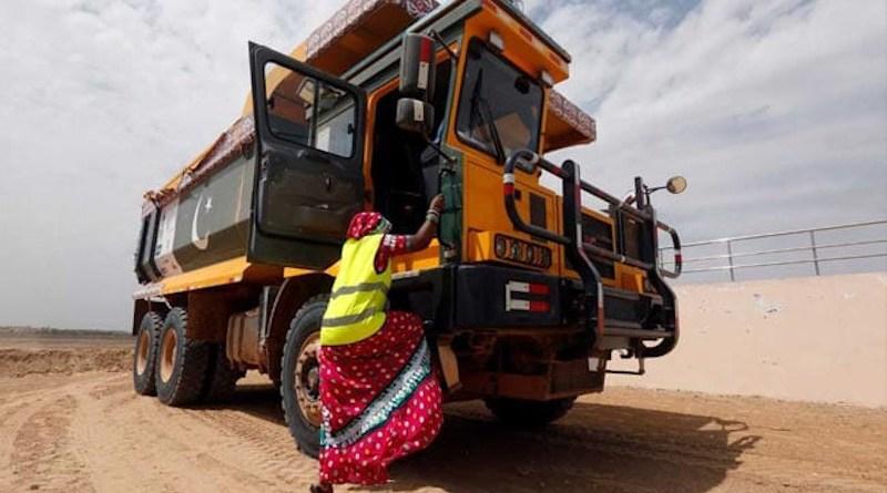 A woman prepares to drive a dump truck in Pakistan's Thar Desert (Photo supplied)
