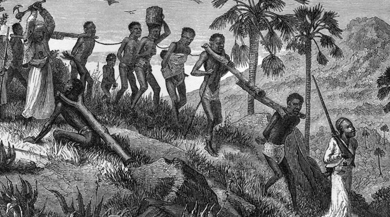 Indian Ocean slave trade. Arab-Swahili slave traders and their captives along the Ruvuma River in Mozambique. Credit: Horace Waller: The last journals of David Livingstone in Central Africa, from 1865 to his death. Wikipedia Commons