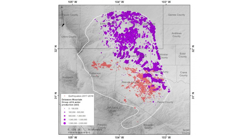 Earthquakes in the southern Delaware Basin (red dots) occur where there has been no historical production from the Delaware Mountain Group (purple circles, the size of the circle indicates the volume of oil and water produced). Credit: Dvory et al. CREDIT Credit: Dvory et al.