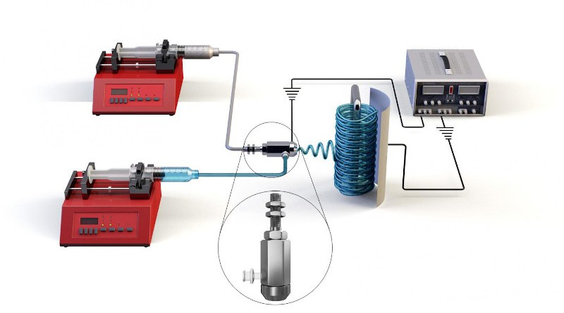 Schematic of co-axial electrospinning device. CREDIT Elsevier