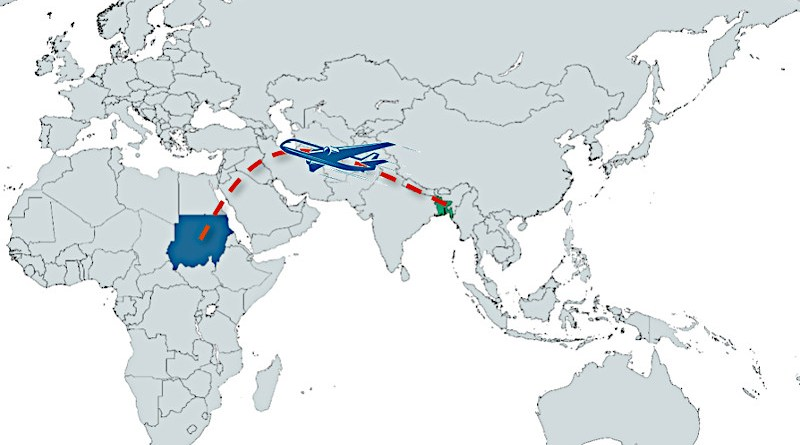 Geographic locations of Bangladesh and Sudan in world map.