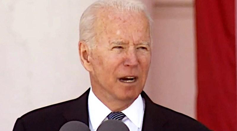 President Joe Biden speaks during a Memorial Day commemoration at Arlington National Cemetery, Va., May 31, 2021. Photo Credit: DOD Screenshot