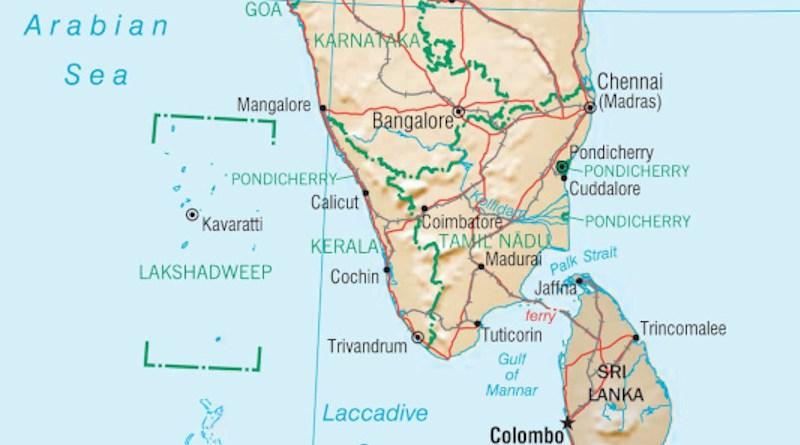 Location of Lakshadweep Islands to mainland India. Credit: CIA World Factbook
