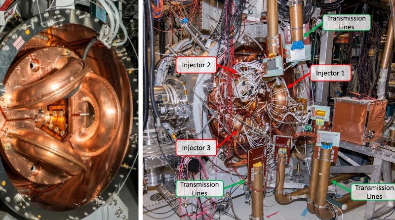 Two photos of the team's prototype reactor, showing the three injectors with (right) and without (left) the electrical circuits (labeled in green on the right) used to form magnetized plasmas in each injector. The GPU precisely controls each of these circuits, allowing the researchers to fine-tune plasma formation in each injector. The individual plasmas then combine and naturally organize into a doughnut-shaped object, similar to a smoke ring. CREDIT: University of Washington