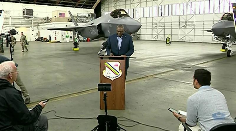 US Secretary of Defense Lloyd J. Austin III at Eielson Air Force Base, Alaska. Photo Credit: DoD video screenshot