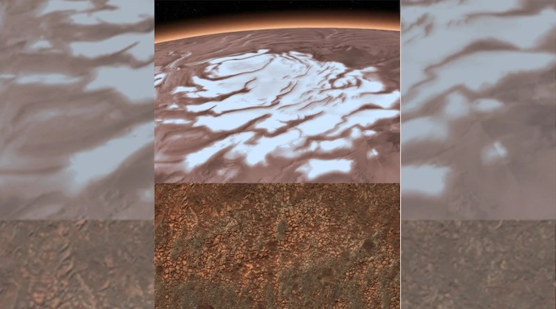 Mars South Polar Layered Deposits on top of Martian Smectites: The multi-kilometer thick south polar ice cap has a base that is composed, at least partially, of a common type of clays. These clays are found over nearly half of the planet's surface and now at the edges of the ice cap. Radar measurements of the clays from a lab led by Smith show that they can explain the bright reflections observed by MARSIS, a simpler explanation than bodies of liquid water CREDIT: ESA/DRL/FU Berlin (top), NASA (bottom).