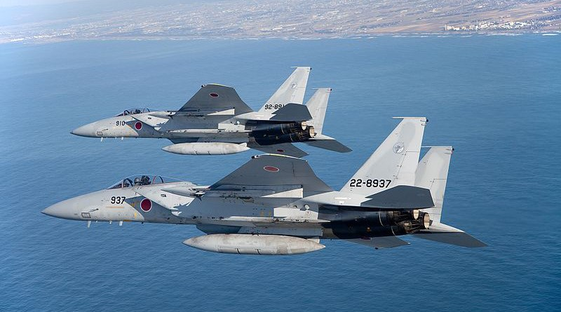 File photo of two Japan Air Force F-15Js in flight. Photo Credit: Japan Ministry of Defense, Wikipedia Commons