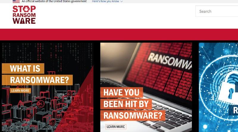 Screenshot of StopRansomware.gov website.
