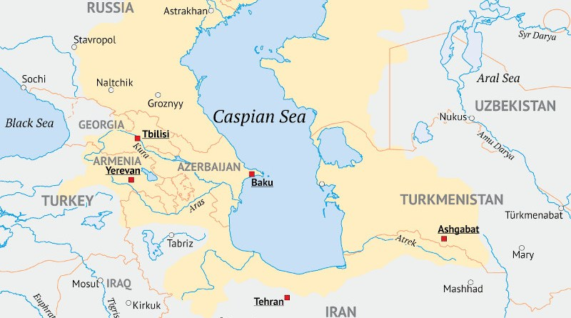 Map of the area around the Caspian Sea, the yellow area indicates the approximate drainage area. Credit: Redgeographics, Wikipedia Commons