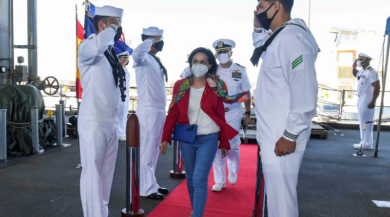 """Spanish Defense Minister Margarita Robles walks through the side boys after touring the Expeditionary Sea Base USS Hershel """"Woody"""" Williams in the Atlantic Ocean, July 8, 2021. Photo Credit: Navy Petty Officer 2nd Class Eric Coffer"""