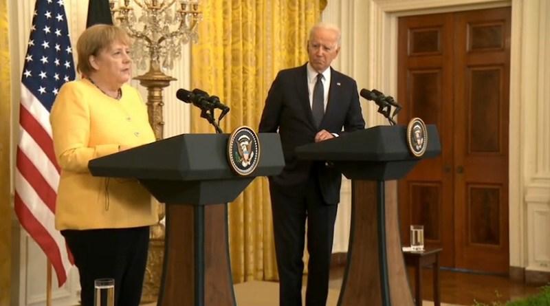 German Chancellor Angela Merkel with US President Joe Biden. Photo Credit: White House video screenshot
