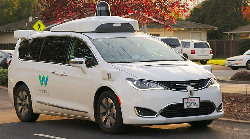 Waymo Chrysler Pacifica Hybrid undergoing testing in the San Francisco Bay Area. Photo Credit: Dllu, Wikipedia Commons