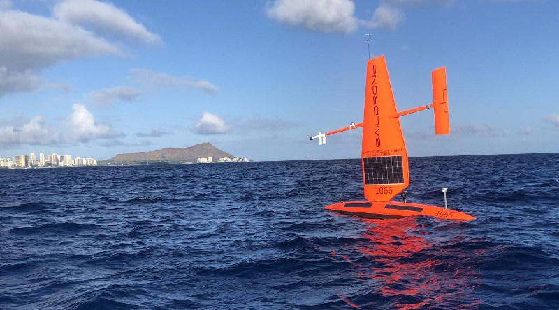 Saildrone uncrewed surface vehicles (USVs), like the one pictured here, made measurements of atmospheric cold pools in remote regions of the tropical Pacific. CREDIT Saildrone, Inc.