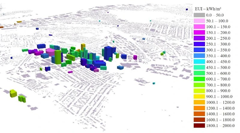 Simulated annual energy use intensity (EUI) of the commercial buildings in the urban building energy model (UBEM) for Pittsburgh, Pennsylvania. CREDIT: Bilec Built Environment and Sustainable Engineering Group
