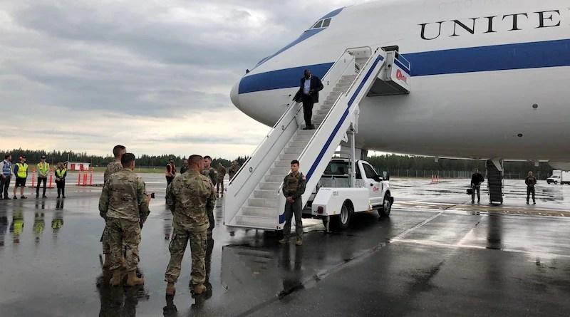 Secretary of Defense Lloyd J. Austin III arrives in Fairbanks, Alaska, beginning a weeklong trip to the Indo-Pacific region. Austin will meet with local military and civilian leaders. Photo Credit: Jim Garamone, DOD